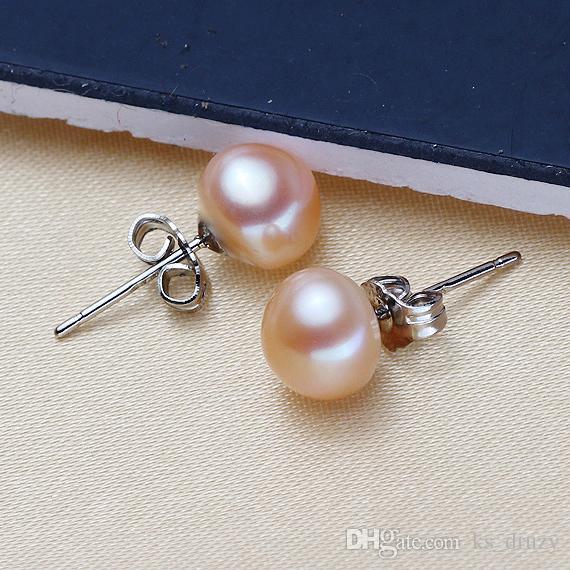 Boule de perle d'eau douce de mode 925 argent plaqué perle d'eau douce goujon boucles d'oreilles pour les femmes bijoux cadeau de noël