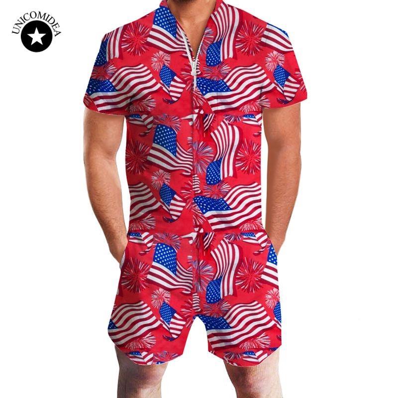 3716b22f4c8 2019 Fashion Mens Rompers USA American Flag Print Male Stretch Slim ...