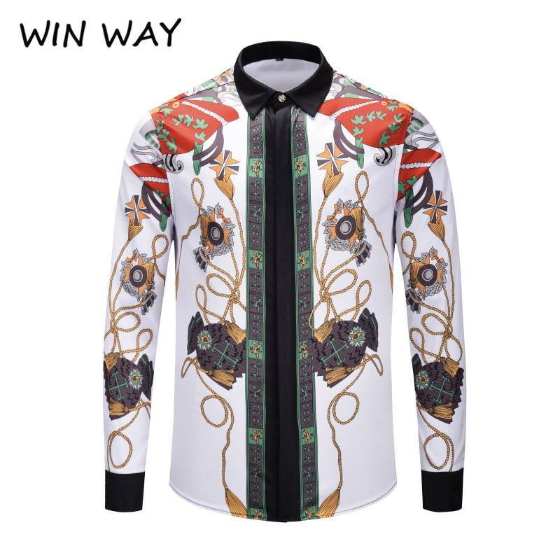WIN WAY European and American tide new cross-border hot end pattern printing pattern men's long-sleeved shirt hairstylist