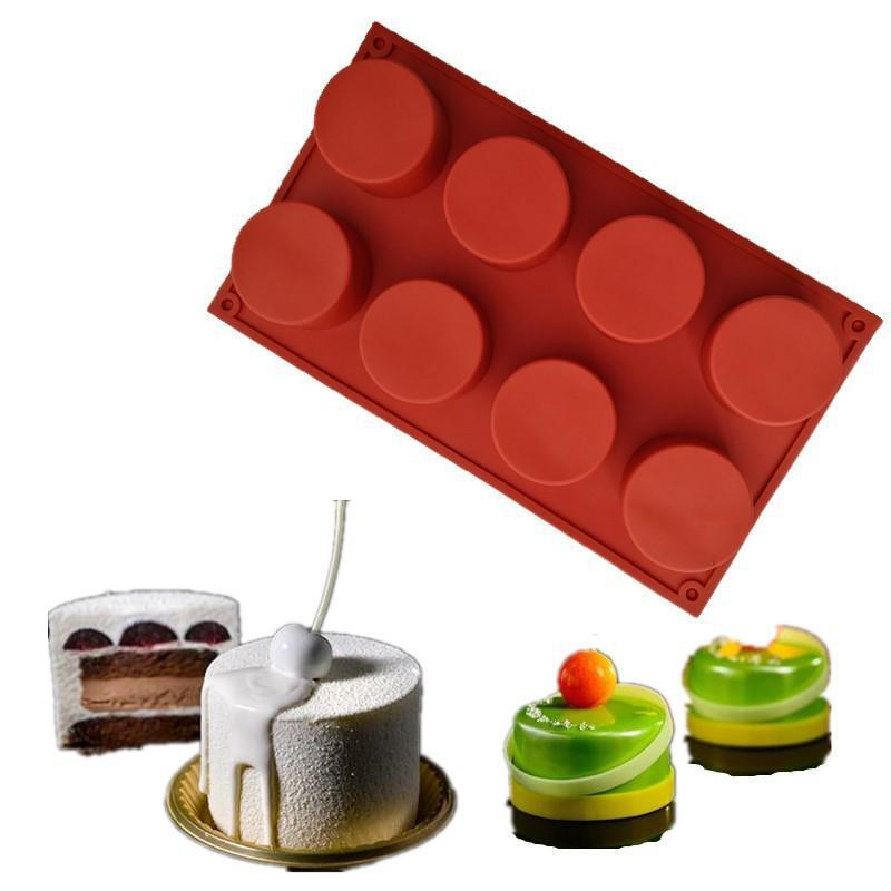OLOEY 8 Holes Mini Cake Maker Round Silicone Cake Mold 3D Handmade Cupcake Cookie DIY Baking Tools