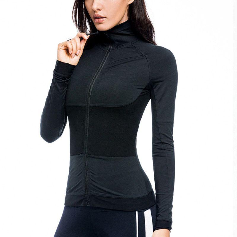 1cb941ef5b 2019 CretKoav 2018 NEW Women S Patchwork Running Jacket Long Sleeve Zipper  Breathable Sport Coat Running Gym Fitness Women Tight Tops From Baibuju