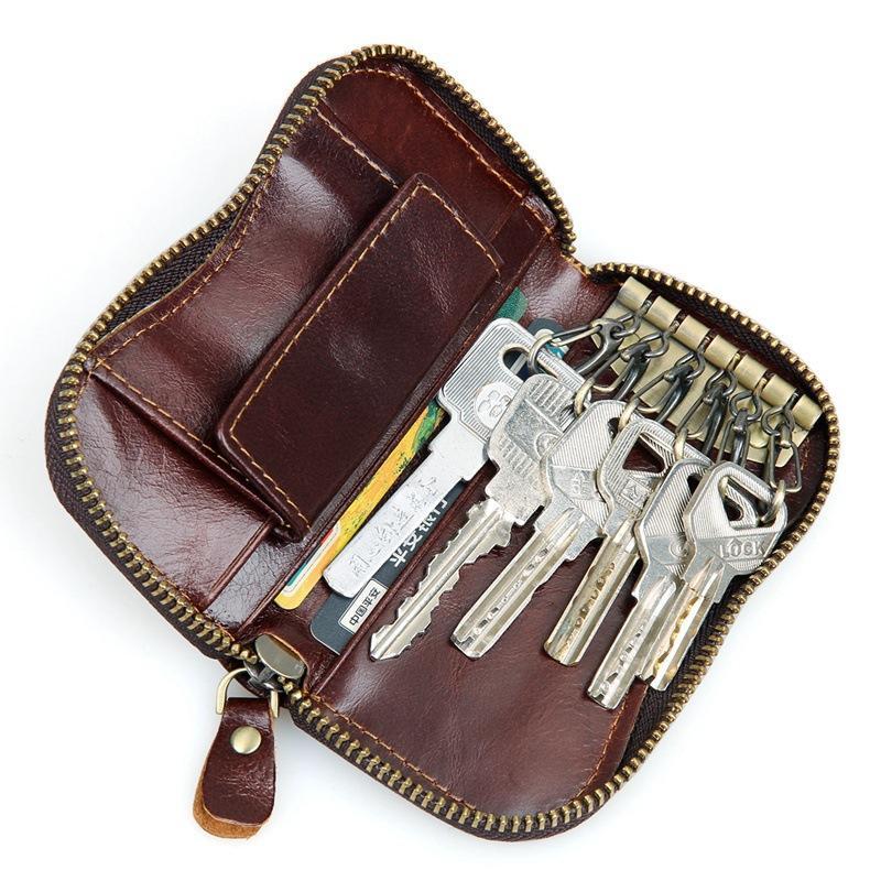 Acheter Vache En Cuir Hommes Porte Clés Vintage Brown Stitch Gouvernante  Pour Auto Keys Véritable Cuir Clé De Voiture Poche Avec Coin Pocket Purse  De  24.89 ... ec4f0718c91