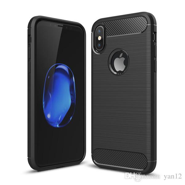 prix le plus bas bien inégale en performance Custodia in fibra di carbonio per iPhone X XR Xs Max 6 6S 7 8 Plus XsMax  Custodia in silicone morbida per iPhoneX gommata XS per Samsung S9 S8 Bordo  ...