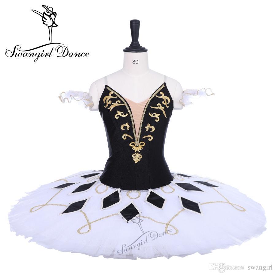 4236539c1b4df 2019 Women Harlequinade Professional Tutu White Black Pancake Platter  Performance Tutus Ballet Stage Costume Tutu Costume BT9228 From Swangirl,  ...