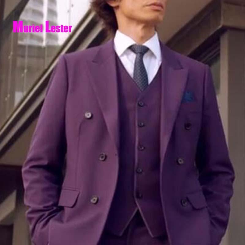 Compre Muriel Lester Último Escudo Pant Designs Purple Hombre Traje Novio  Wedding Mens Trajes Slim Fit 3 Piezas Tuxedo Custom Blazer Terno A  150.89  Del ... 0c71ccde6ea8