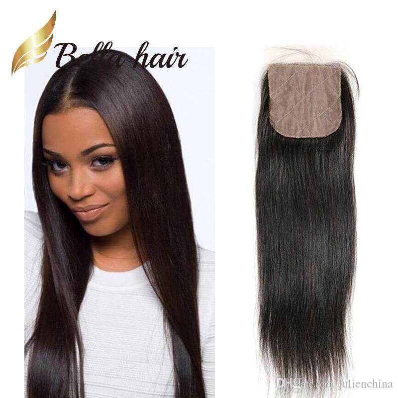 Bella Hair®4 * 4 Silkbaslås 100% peruansk jungfrulig hårförlängning 10 ~ 20 naturlig färg silkeslen rak