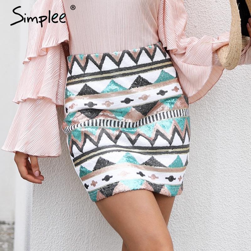 65a8696d919 Simplee Aztec Print Sequin Pencil Skirt High Waist Streetwear Zipper Short  Skirt 2017 New Autumn Mini Skirts Womens Bottom UK 2019 From Watchlove