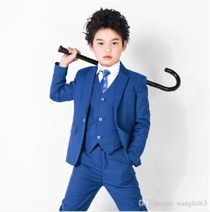 Three Piece Royal Blue Boys Wedding Suits Flower Children Formal Party Tuxedos 2018 Jacket + Pants + Vest
