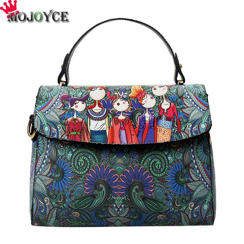 de5e1373e147 Vintage Printed Ethnic Elegant Shoulder Handbags Women Girls Fashion PU  Leather Casual Messenger Crossbody Bags Backpack Purse Bags For Men From  Bowdown