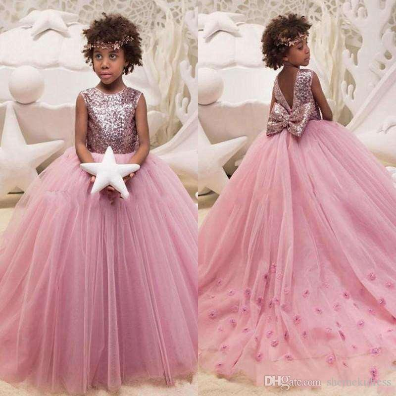 b4dbf800d 2018 Beautiful Pink Sequins Jewel Tulle Flower Girl Dresses With Big Bow  Back Toddler Kids Birthday Party Dress Formal Girls Pageant Gowns