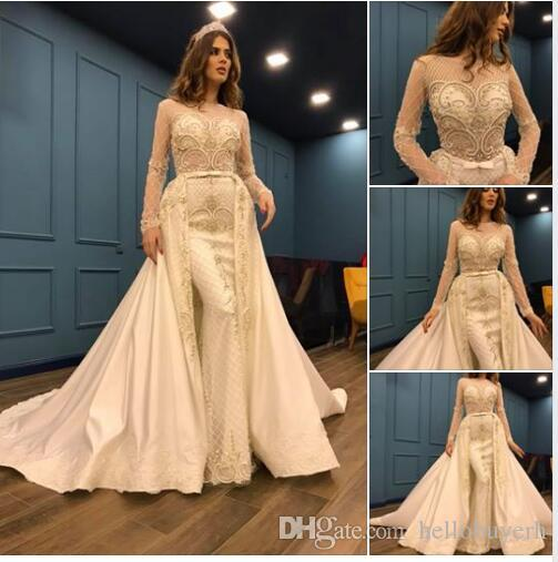 compre mangas largas de lujo de la vendimia sirena vestidos de novia
