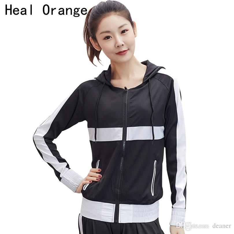 a890b4d0a 2019 HEAL ORANGE Workout Jackets For Women Top Athletics Full Sleeve Zip Hoodie  Sweatshirts Women S Active Running Tops Track Jacket From Deaner