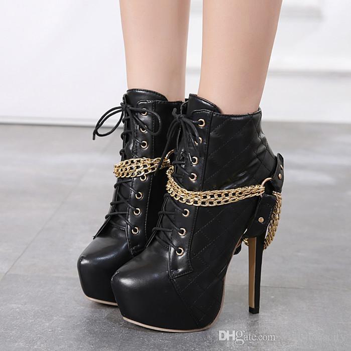 14cm sexy weiß schwarz gold Kette Gitter Design Plattform Schuhe High Heels Stiefeletten Ritter Stiefel Größe 35 bis 40