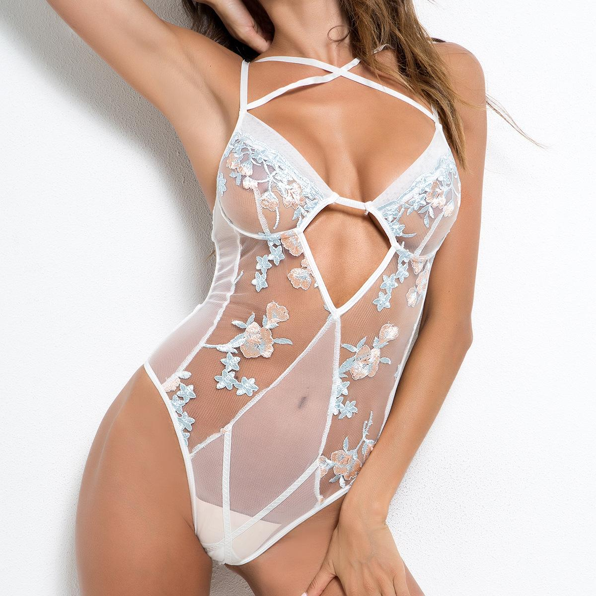 Embroidered Floral Sexy Mesh Stitching Lingerie Strap Hollow Out Underwear  V Neck Backless Lace One Piece Bodysuit Sleepwear Sex Hotsale Chemise  Nightwear ... 745b5bfc0