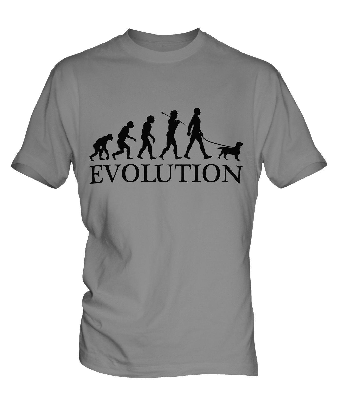WELSH SPRINGER SPANIEL EVOLUTION DI MAN MENS T-SHIRT TEE TOP DOG WALKER WALKING