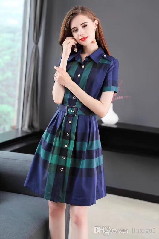 Ladies Long Plaid Dress Summer Short Sleeve Belt Lapel Shirt Skirt ...
