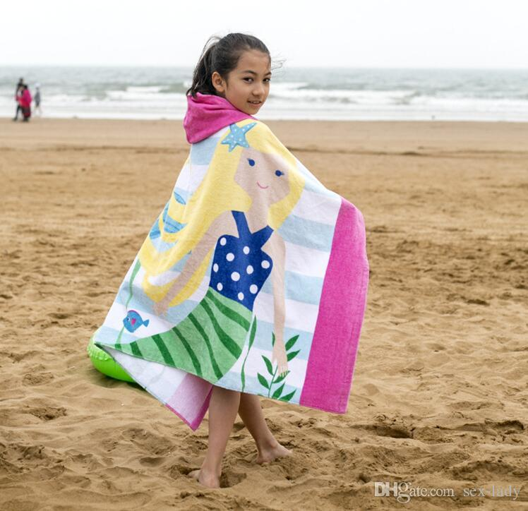 Newest Beach Cover Ups Baby Soft Cartoon Hooded Towel 100% Cotton Children Swim Beach Bath Wear Kids Bathrobe High Quality