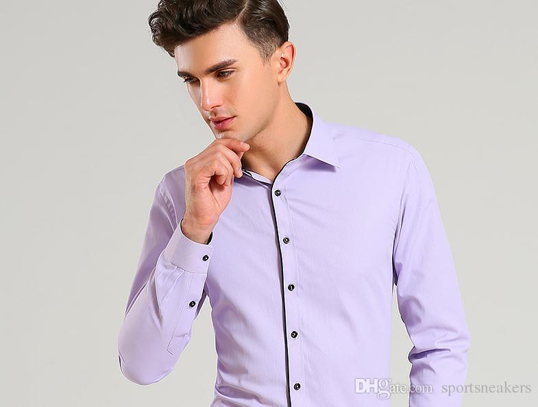 Camisas Dos Homens de Negócios de Manga Longa Mens Slim Fit Camisas de Vestido de Algodão colarinho preto Camisa Plus Size
