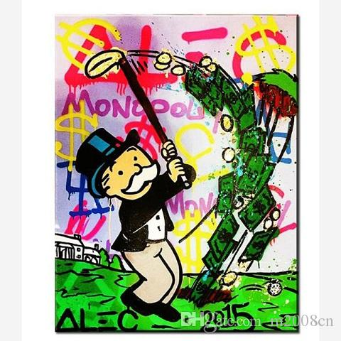 Alec Monopoly Handpainted /HD Print Street Graffiti Pop Wall Art Oil Painting on Canvas office art culture Multi Sizes /Frame Options g298