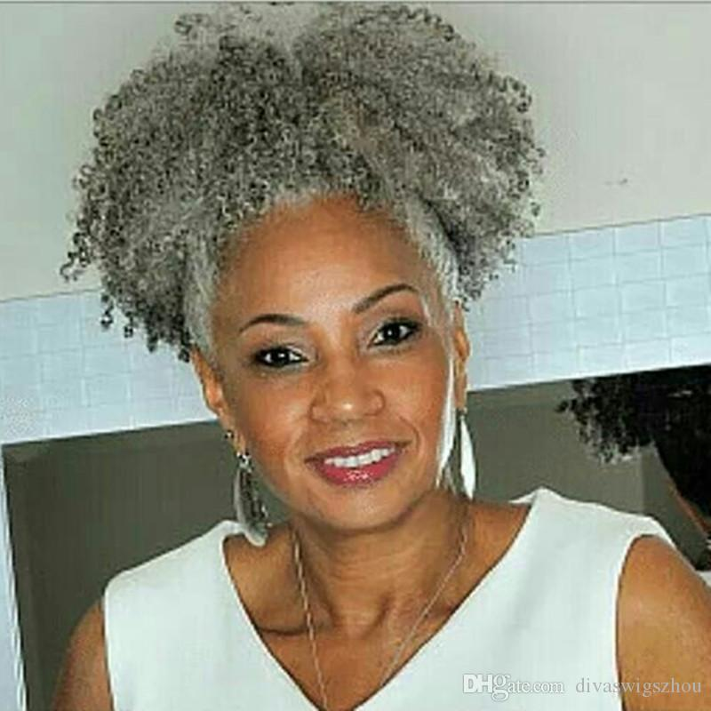 Black Women Gray Hair Extension Silver Grey Afro Puff