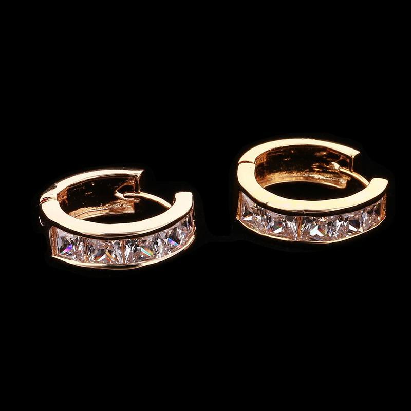 Zoshi new arrival classic cor de ouro moda brilhando brincos de cristal para mulheres mulheres pendientes brincos
