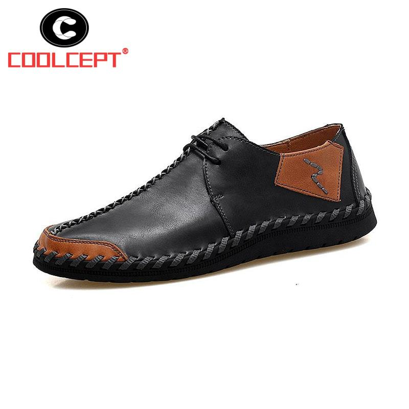 3607d0236 Coolcept Size 38-47 Men Shoes Casual Genuine Leather Breathable ...