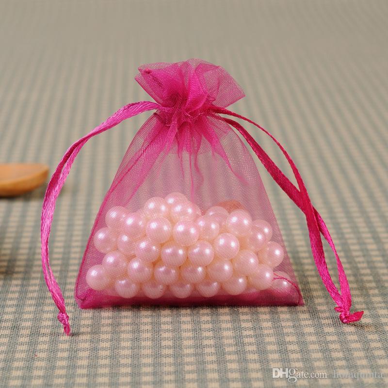 Multi color pequeño bolso de la joyería Oganza cordón bolsa para el embalaje de la joyería de almacenamiento regalo del favor de la boda Chirstmas Wrap Bag 7x9cm