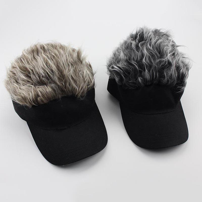 819f9d407b0 Hot New Fashion Novelty Baseball Cap Fake Flair Hair Sun Visor Hats Men's  Women's Toupee Wig Funny Hair Loss Cool Gifts