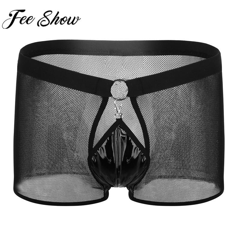 4d741e58378e 2019 Feeshow Black Mens See Through Boxer Underwear Fishnet Breathable  Underpants Low Rise Open Front Pouch Underwear For Sexy Men From Merrylady,  ...