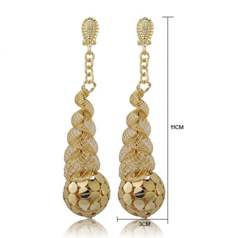 Wholesale Fashionable African Beads Jewelry Sets Long Drop Dangle Earrings For Women Nigerian Wedding Bridal Necklace Jewelry