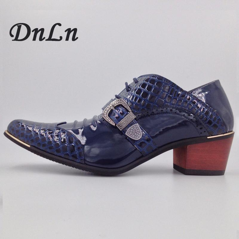 feaf40e0a7a25 Men Dress Shoes Patent Leather Fashion High Heel Formal Male Shoes ...