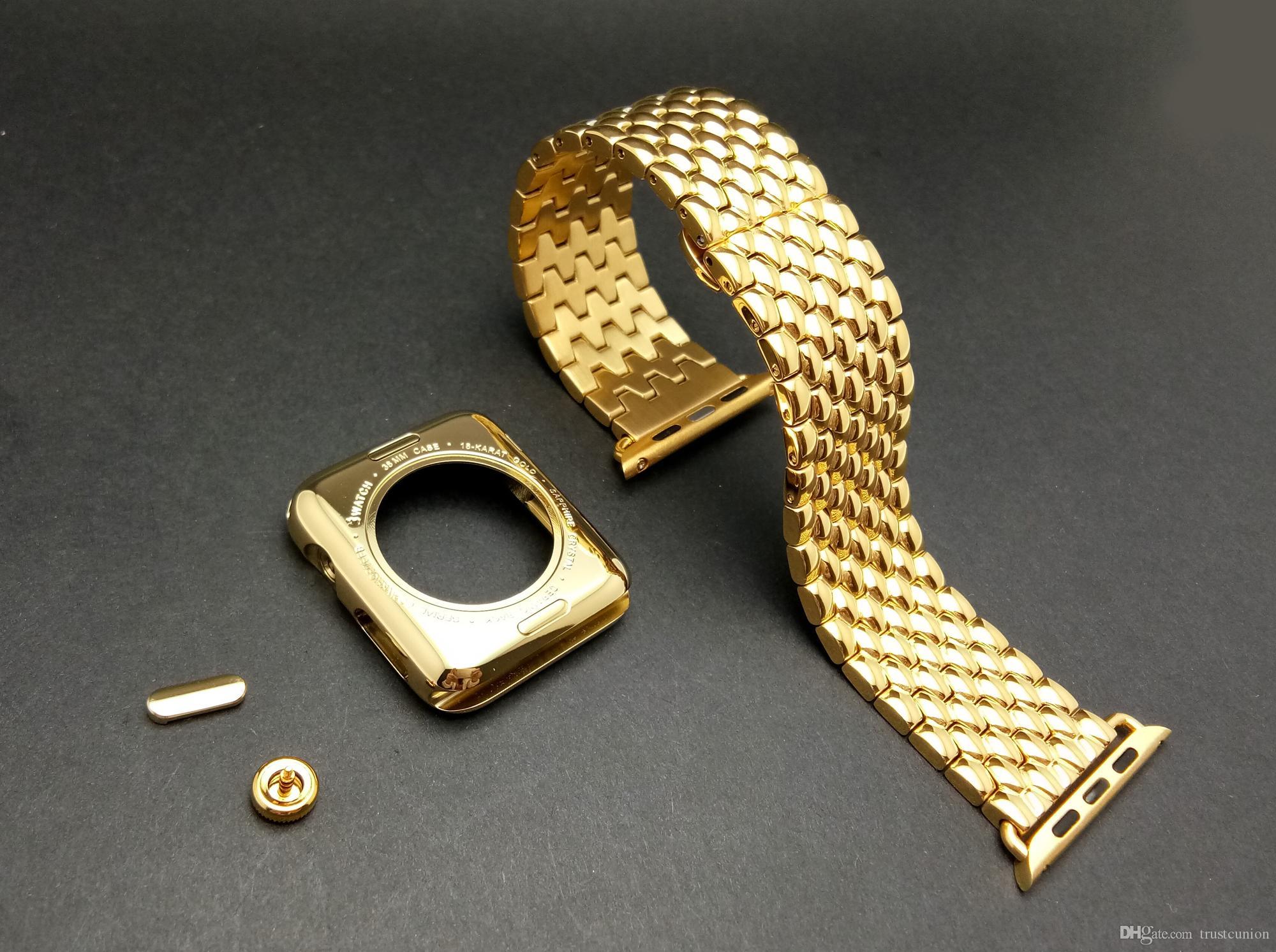 80b13756d79d Compre Caja De Reloj Dorada Con Marco De Oro De Acero Inoxidable 24K Dorado  + Correa De Reloj De Acero Inoxidable Dorado Para Apple Watch S1 42MM Envío  ...