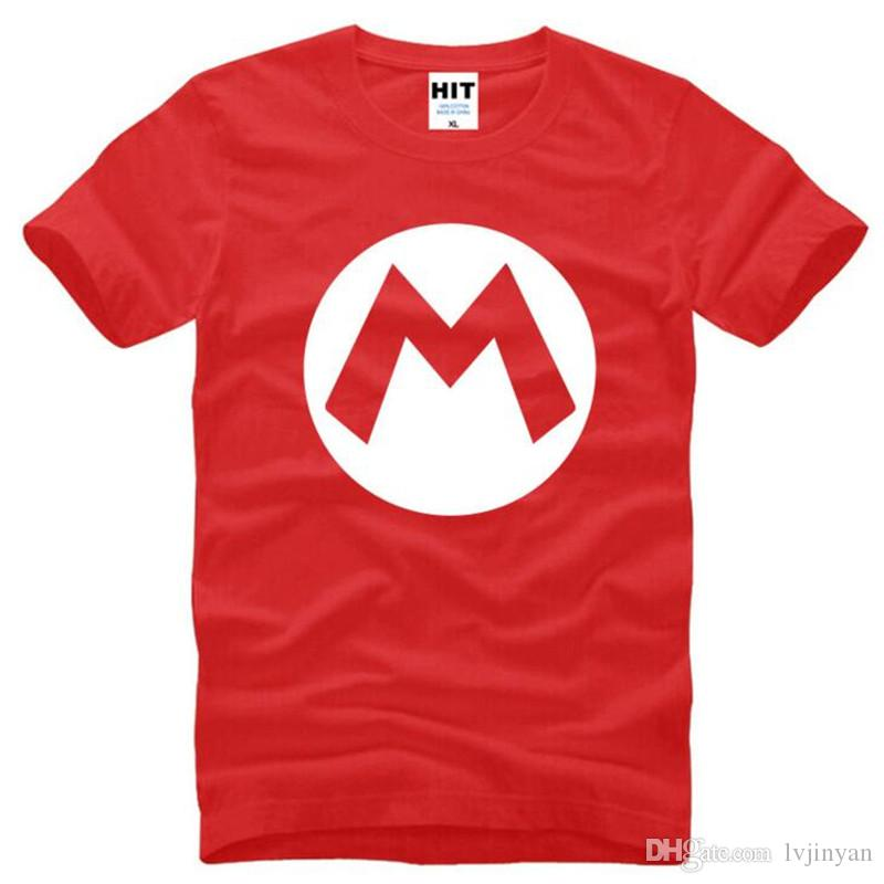 Super Mario Logo Printed T Shirts Men New Summer Short Sleeve O-Neck Cotton Men's T Shirt Casual Cute Cartoon Tee Shirt Homme