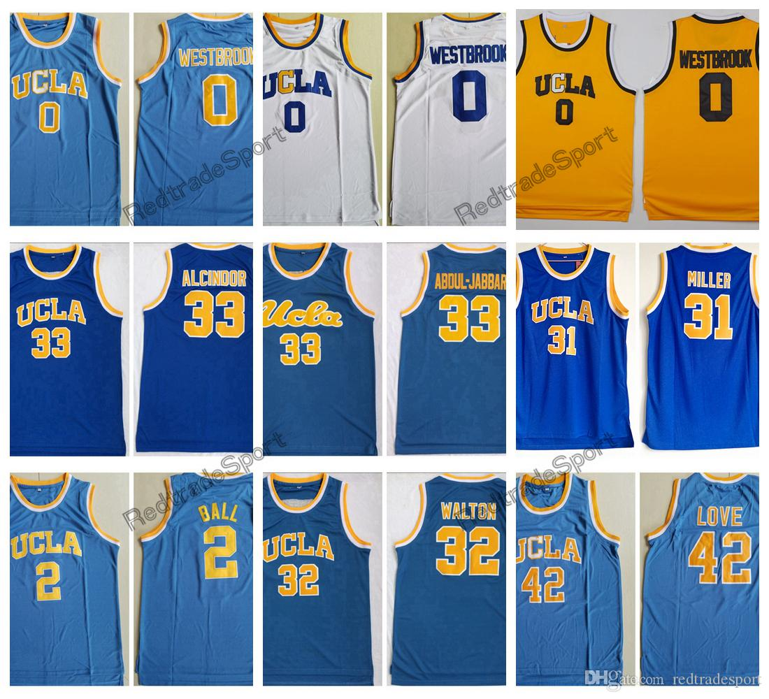 520bc1a518c 2019 UCLA Bruins College Basketball Jerseys Russell Westbrook 0 Lonzo Ball 2  Reggie Miller Bill Walton 42 Kevin Love 33 Kareem Abdul Jabbar From ...