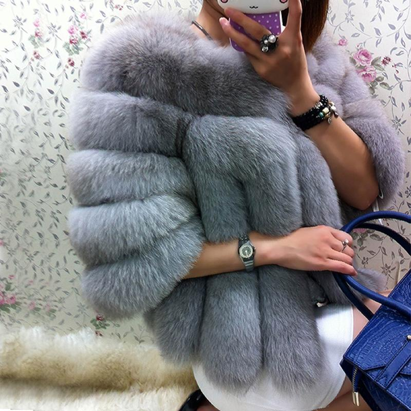 FURSARCAR Winter Natural Real Fox Fur Coat Women Whole Skin Genuine Leather Female Jacket 2017 NEW Fox Fur Short Women Fur Coat
