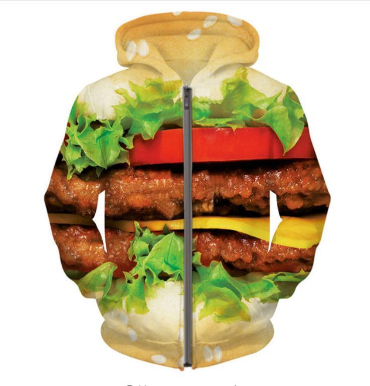Yy025 Outfits Hoodie Männer Tops Reißverschluss Burger Up Hoodies Frauen Harajuku Sweatshirt 3d Mode Psychedelic Neue Druck Zip 534RqAjcL