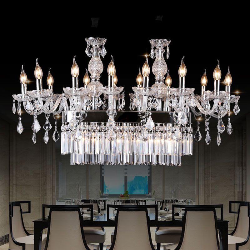 Modern Design K9 Crystal Chandelier Hotel Restaurant Dinging Room Table Top Chandelier Lighting with rectangular Crystal Chandelier Light