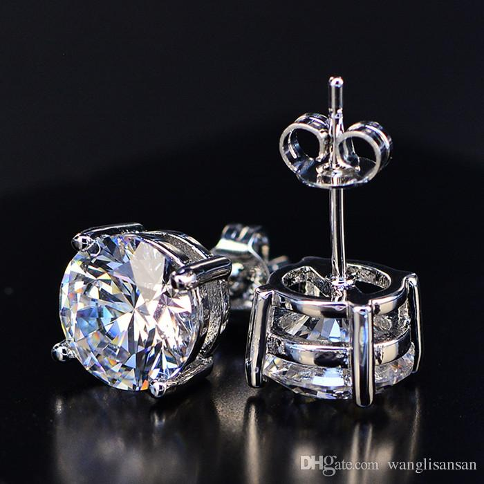 4-Prong Round Cut Stud Earrings 18K White Gold Filled Mens Womens Genuine Clear Cubic Zirconia Earrings Silver Needle Prevent Allergy