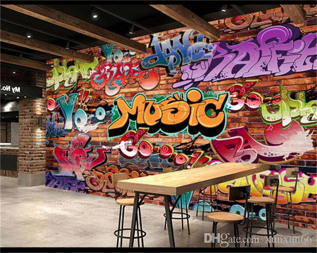 Custom Wall Mural 3D Embossed Brick Wallpaper Graffiti Art Cafe Bar Dining Room Wallpaper For Walls 3 D Papel Pintado Pared