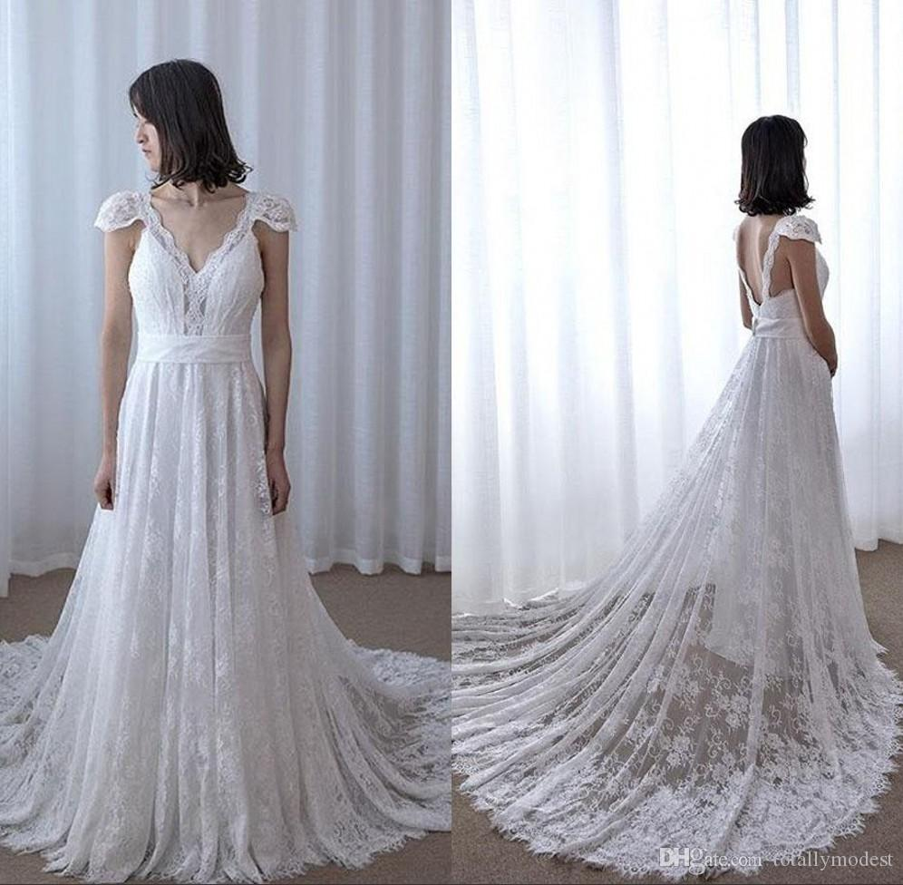 24a1c839c88c Discount 2018 Vintage Lace A Line Boho Wedding Dresses Cap Sleeves V Neck  Long Train Bohemian Informal Bridal Gowns Country Western Custom Made  Wedding ...