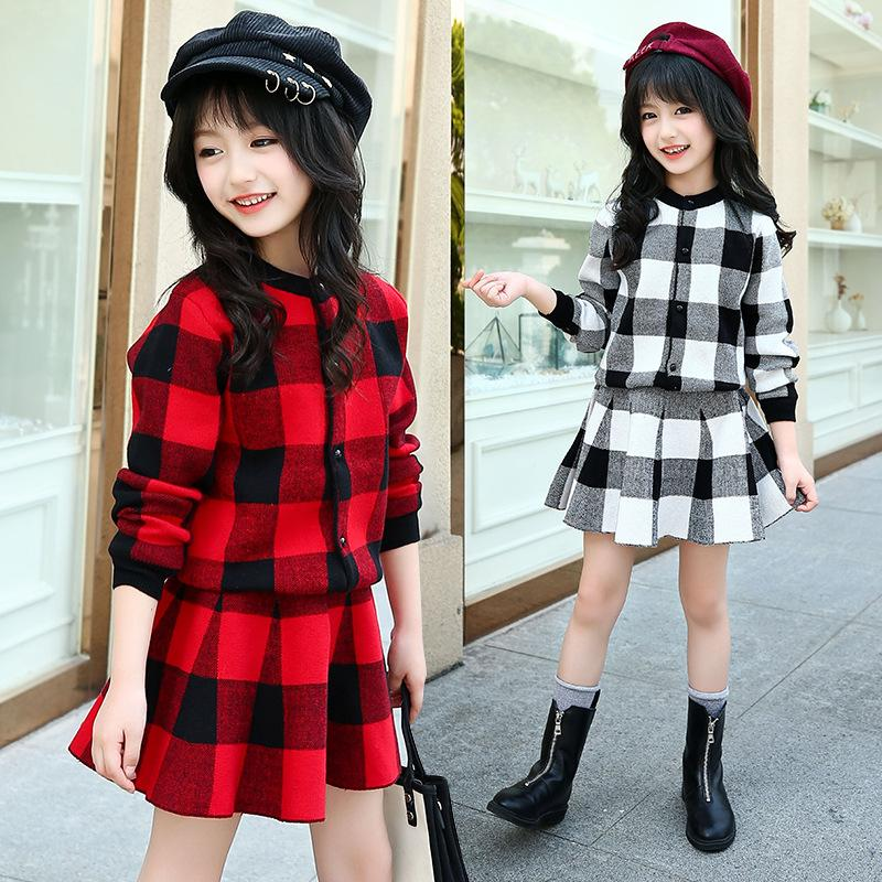 d5a84bd5b 2019 Kids Girls Autumn Red Plaid Dress Outfits Plaid Cardigan + ...