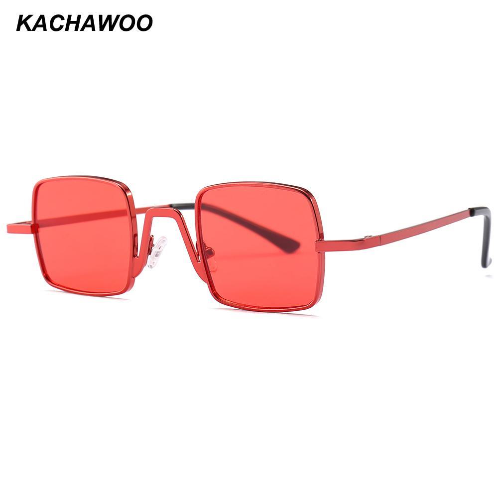 1cf2a8db38 Compre Kachawoo Al Por Mayor 6 Unids Gafas De Sol Cuadradas De Los Hombres  De Oro Pequeño Marco De Metal Gafas De Sol Para Mujeres Verano 2018 UV400 A  ...