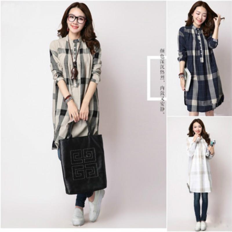 bead9a6a1c56b Satın Al Retro Ekose Gevşek Rahat Hamile Elbiseleri Güz Kış Gebelik  Giysileri Hamile Kadınlar Için Artı Boyutu Analık Elbise CE213, $22.95    DHgate.Com'da