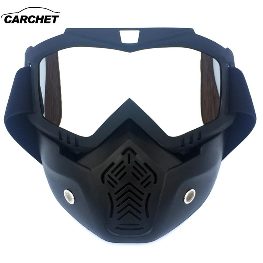 2a2e7260dd3 CARCHET Full Face Helmet Eyewears Masks Ski Skate Goggles Cafe Racer Motorcycle  Glasses Mask Detachable Oculos Motocross Goggles Motorcycle Over Glasses ...
