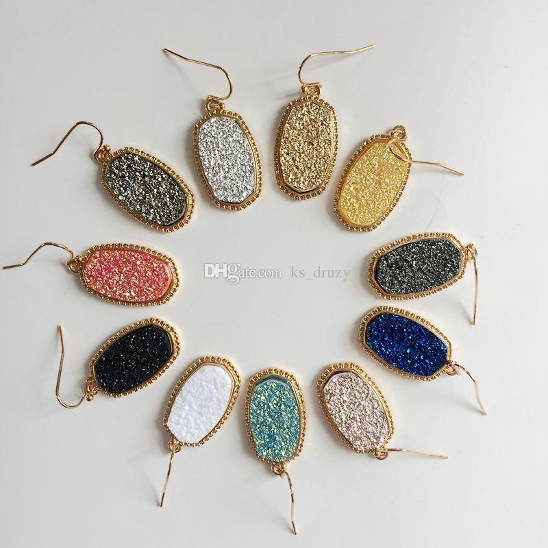 Hot Large Style Gold Silver Plated Drusy Druzy Necklace Drop Earrings Jewelry Set Glitter Druzy Choker for Women