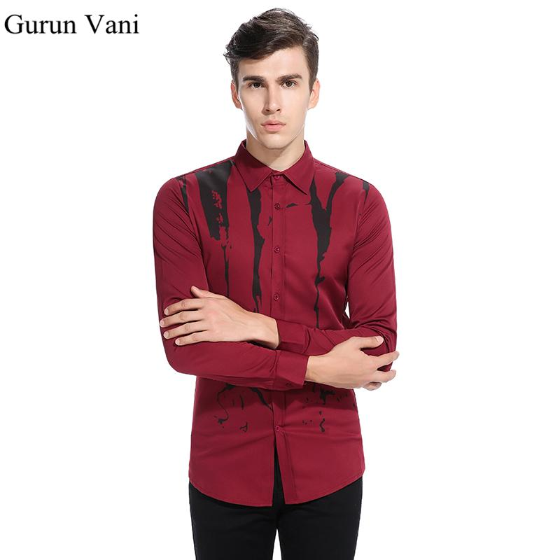 3507ebed8ca52 2019 Men S Inkjet Printing Long Sleeve Shirts Fashion Slim Fit Male Dress  Shirt Party Stage Shirt For Man Casual Brand Men Clothing From Geraldi