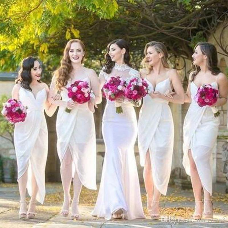 White Chiffon Side Split Bridesmaid Dresses Spaghetti Strap Tea Length Maid Of The Honor Wedding Party Bridesmaid Dresses MB007