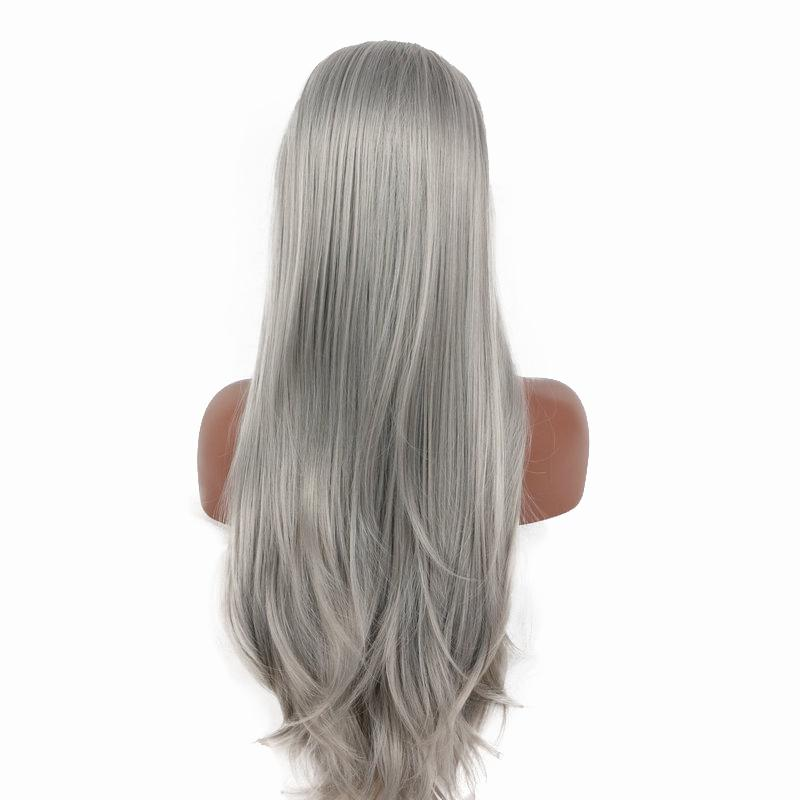 Lace Front Wigs 24'' inches Straight hair Mixed Gray Gradient Long Heat Resistant Wavy Hair Ombre Lace Front Wig kabell wigs