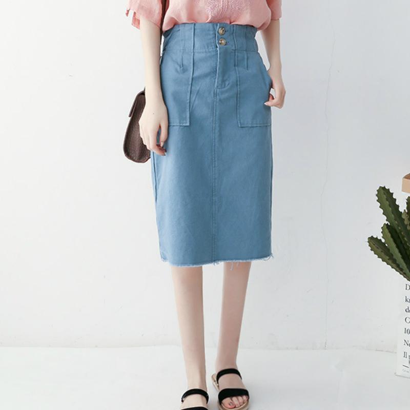 9eff1486a SETWIGG Moda para niñas Estilo preppy Algodón Faldas medias Bolsillos  Botones Cadera delgada Paquete Longitud de la rodilla Faldas rectas Caqui  azul