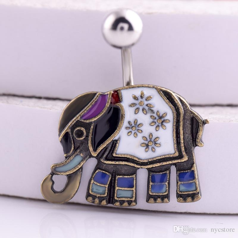 Surgical Steel Vintage Navels Cute Elephant Belly Button Ring Fashion Body Piercing Navel Jewelry